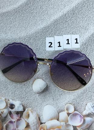 Круглые солнцезащитные очки фиолетовые к. 2111
