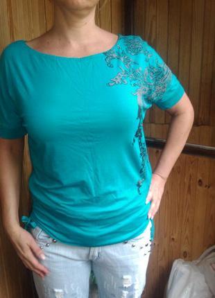 Блуза-футболка цвета ярко-зеленой бирюзы, р. 38-40