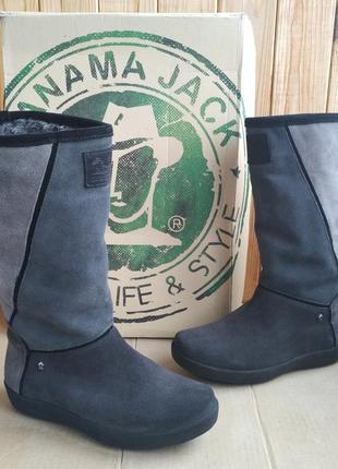 Теплые кожаные стильные новые сапоги panama jack полусапожки о...