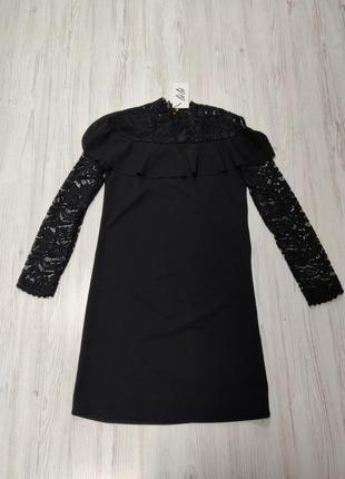 Ликвидация товара 🔥 черное платье с рукавами оборкой и кружевом