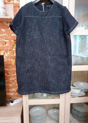Очень классное котоновое платье,  похожее на джинсовое большог...