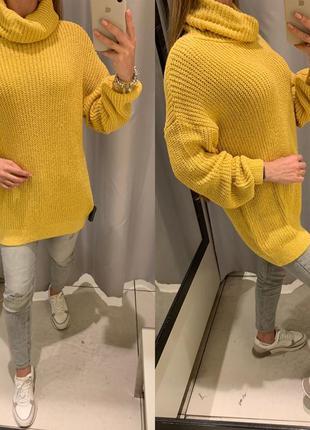Удлиненный желтый свитер reserved есть размеры