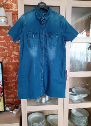 Очень стильное джинсовое с карманами платье рубашка большого р...