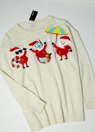 Стильный в зимний принт теплый свитер