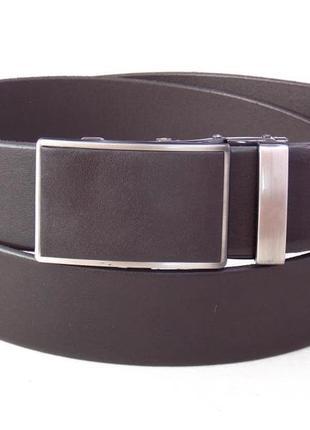 Мужской кожаный коричневый ремень для джинс и брюк 40 мм.