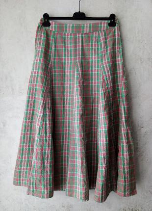 Хлопковая юбка, многоклинка, 100%хлопок, жатка, клетка, индия