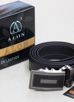 Мужской кожаный ремень alon с автоматической пряжкой (арт. 577)