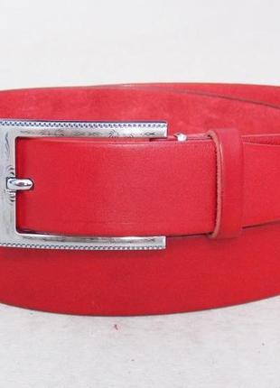 Женский кожаный красный ремень классический