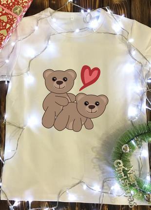 Мужская футболка с принтом - пара мишек