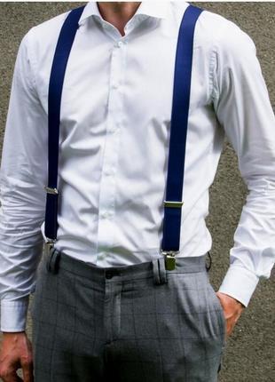 Мужские подтяжки темно-синие (польша)