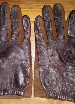Перчатки кожа+текстиль