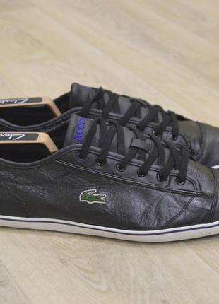 Lacoste мужские кожаные кроссовки кеды оригинал черные
