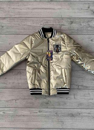 Куртка-бомбер цвета металлик
