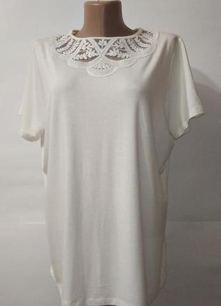 Белая красивая блуза с кружевом marks&spencer uk 18/46/xxl