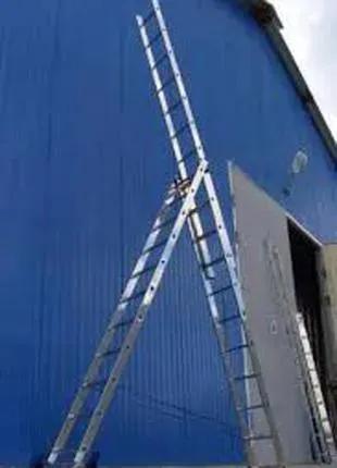 3x12 ступеней алюминиевая лестница - стремянка 3-х секционная 349