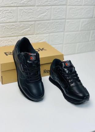 Мужские кроссовки reebok classic leather black рибок классик к...