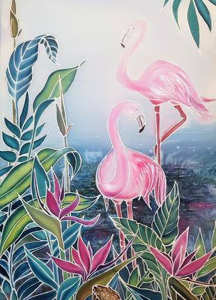 "Картина, батик ""Розовый фламинго"""
