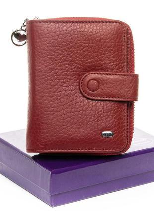 Кожаный женский красный маленький кошелек визитница натуральна...