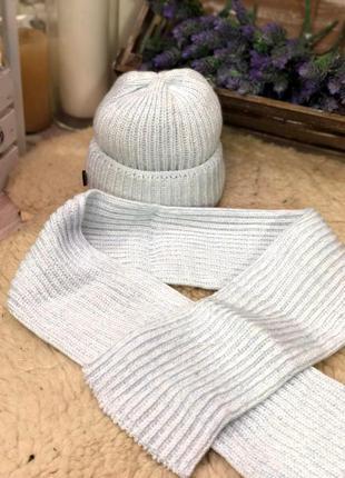 Теплый комплект шапка-шарф, турция.