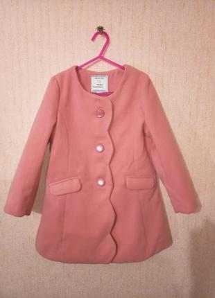 Красивое пудровое пальто девочке crafted, 4-5 лет