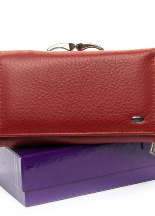 Кожаный женский красный кошелек dr. bond натуральная кожа
