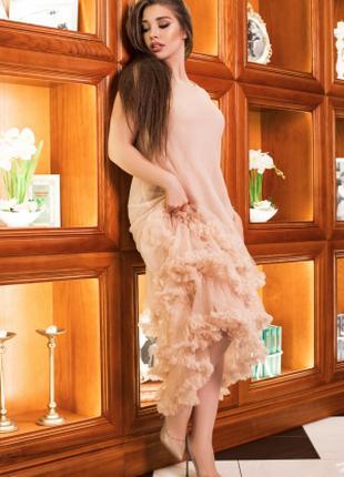 Платье женское нарядное бежевого цвета, платье праздничное