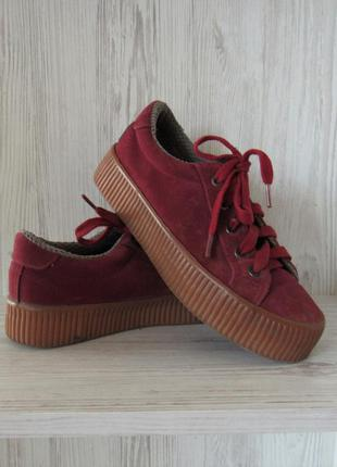 Акция на обувь!замшевые ботинки кроссовки кеды криперы на плат...