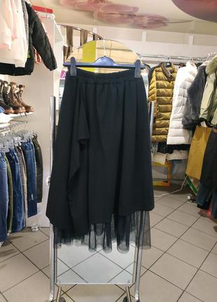 Оригинальная юбка миди с фатином