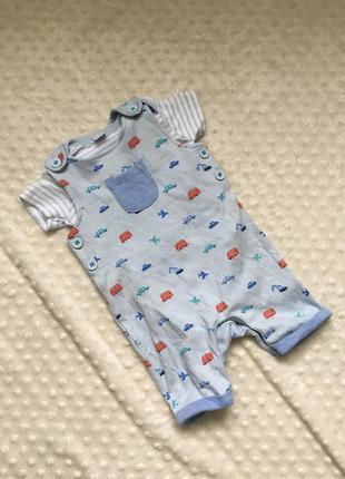 Комплект 2ка на мальчика 3-6 месяцев, боди песочник ромпер ком...