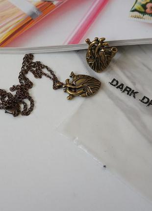 🔥🔥🔥2 шт. набор кольцо и кулон сердце dark dream подарок к дню ...