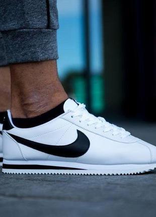 Nike cortez white leather white black, мужские кроссовки найк