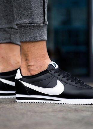 Nike cortez leather black white, мужские кроссовки найк кортез...