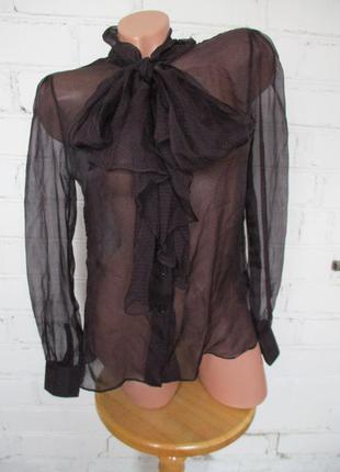 Блуза шелковая прозрачная в горошек с бантом/шелк