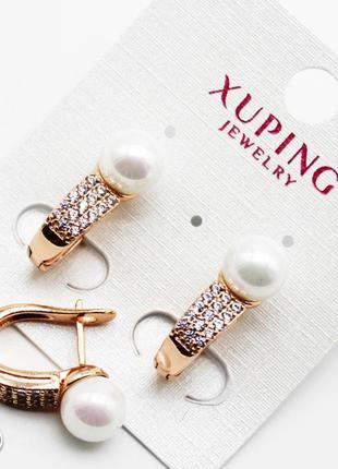 """Серьги """"дорожка с жемчужиной"""" xuping, ювелирная бижутерия меди..."""