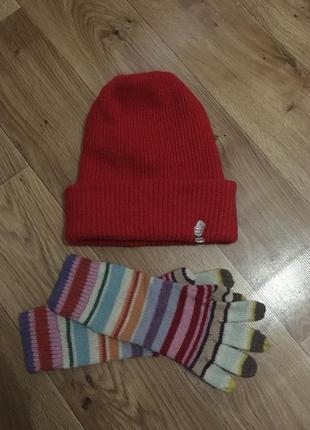 Набор из объемной шапки +высоких шерстяных перчаток+ железный ...