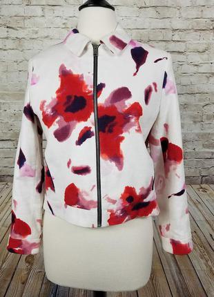 Куртка піджак zara basic в квіти жакет