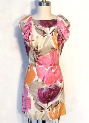 Легке брендове шовкове плаття bcbgmaxazria в квітковий принт з...