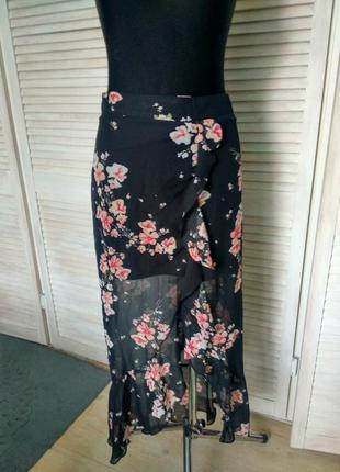 Спідниця в квіти amisu new yorker з рюшами юбка цветы