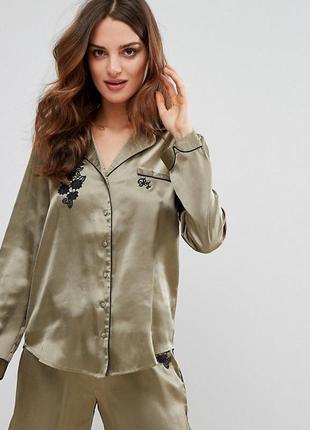 Крута блуза сорочка river island рубашка хаки атласная шелк бе...