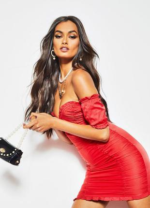 Сексуальне яскраво червоне плаття boohoo платье красное рюша