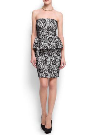 Стильне плаття mango suit  баска кружево платье