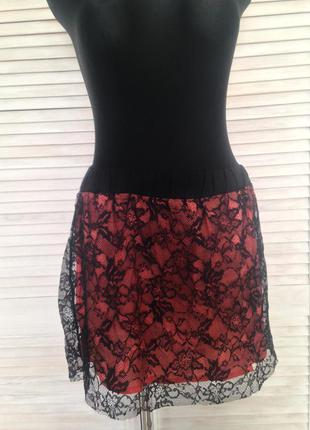 Спідниця mango mng collection кружево висока талія юбка