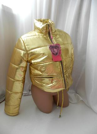 Дутая укороченная куртка золото