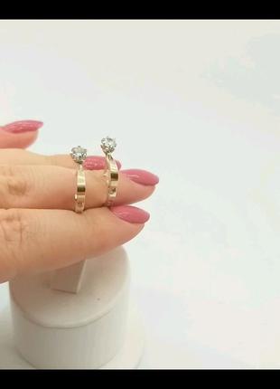 Серьги серебро + золото