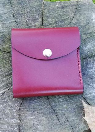 Женский кошелек из натуральной кожи цвета марсала 100% ручная ...