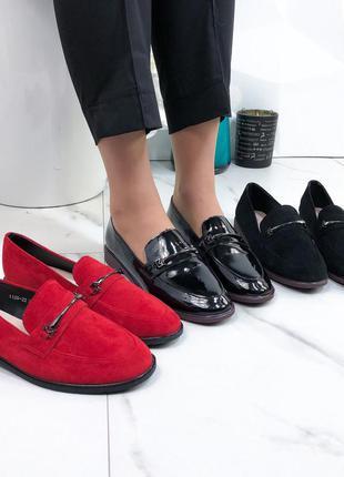 Чёрные лаковые туфли на низком каблуке,чёрные лакированные лоферы