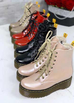 Кожаные ботинки в стиле dr. martens,пудровые ботинки мартенсы ...