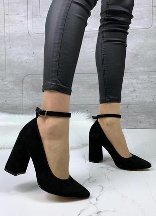 Шикарные замшевые туфли на каблуке,чёрные туфли с ремешками из...