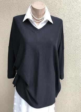 Чёрный трикотаж свитер,кофта,джемпер,пуловер,реглан,люкс бренд...