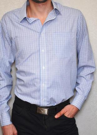 Мужская рубашка в клетку длинный рукав marks&spencer